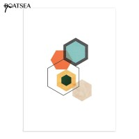 Boatsea Abstract Colorful Geometric Wall Art Poster No Frame Home
