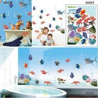 1Pc Stiker Dinding Desain Ikan Hiu Laut 3D untuk Dekorasi Kamar