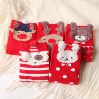 5 Pasang/Set Kaos Kaki Motif Kartun Natal Bahan Katun untuk Anak