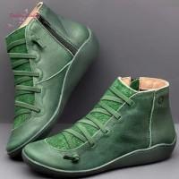 Musim Gugur Sepatu Ankle Boots Wanita Lace-Up Bertali Bahan Kulit