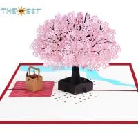 Kartu Ucapan Pop Up 3D Gambar Bunga Sakura untuk Valentine