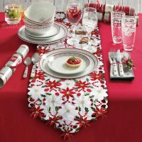 40*180cm Embroidered Christmas Table Runner Party Wedding Tablecloth