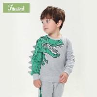 Api Sweater Anak Laki-laki Motif Kartun Dinosaurus untuk Sekolah