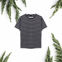 Kaos Stripe/Baju garis-garis/Kaos Salur-Unisexcolor-Cotton Combed30s - Hitam, S