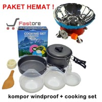 Paket Kompor Windproof dan Alat Masak Outdoor Cooking Set DS 200