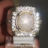 Batu Cincin White Safir Star Srilangka Asli (Kode 1934)