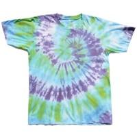 Tie Dye T-Shirt Spiral Green Purple Blue
