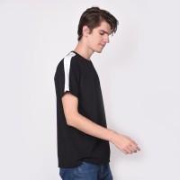 kaos Baju Tshirt polos hitam list putih