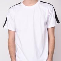 kaos Baju Tshirt polos putih list hitam