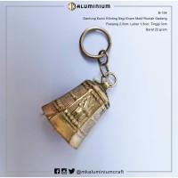 Gantungan Kunci Kuningan - Bandul Segi Enam Rumah Gadang - MK