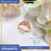 Cincin Emas Kuning Kerangka Berlian Kadar : 70% #680C