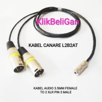 Kabel Canare L2B2AT Jack Aux 3.5mm Female To 2 XLR Pin 3 Male 0,5Meter