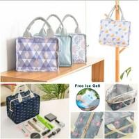 Korean Square Lunch Bag Cooler/Tas Bekal Kotak Alumunium Foil