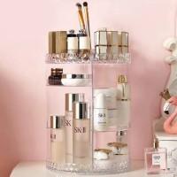 Rak Make Up Kosmetik Putar Organizer Acrylic 360 Derajat Motif Diamond