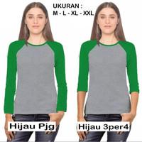 TKOPPA _ Kaos Raglan Hijau | Kaos Raglan wanita | Kaos lengan panjang