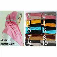 Jilbab/hijab instan serut kombinasi/ serut polos kombinasi 2 warna