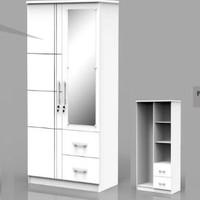 Lemari Pakaian 2 Pintu Putih Kaca Cermin