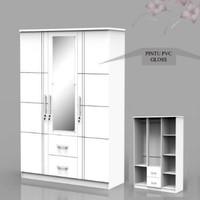 Lemari Pakaian 3 Pintu Putih Kaca Cermin