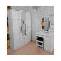 PAKET Lemari Pakaian 3 Pintu dan Meja Rias Kaca Sliding Putih