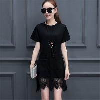 Korean lace stitching large size women midi dress