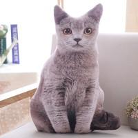 Mainan Bantal Boneka Plush Simulasi Kucing 3d Wajah Besar Kreatif