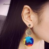 CHU Anting Tusuk Juntai/Drop Berlian Imitasi+Lingkaran+Bola Pompom