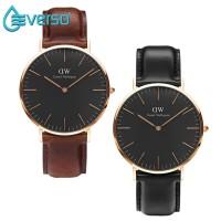 Everso Jam Tangan Quartz Simple Warna Hitam 40Mm Untuk Pria