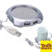 USB 2.0 Coffee Cup Warmer Pad with 4 USB Ports Hub [Silver] [4 Usb]