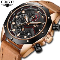 LIGE Jam Tangan Kasual Pria PU Leather - 9856