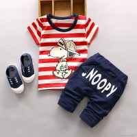 Summer Kids Boys Cartoon Snoopy T-shirt + Long Pants Clothes Set