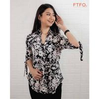 kemeja wanita, Express - Floral Tie Front Ruched Sleeve Shirt,100% ORI