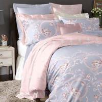 Bed cover & sprei Tencel motif klasik pink (Sutra organik)