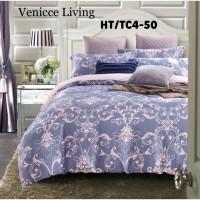 Bed cover & sprei Tencel motif klasik ungu(Sutra organik)