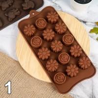 Cetakan Agar Cokelat Es Batu Puding Silicone  Bunga Buah Flower Kerang