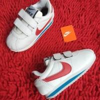 Sepatu Anak Kids Nike Cortez Nylon Classic Perekat SP018 White Red