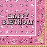 Tisu Lunch HBD Tema Pink Bandana - Perlengkapan Pesta Ulang Tahun