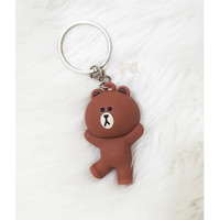 [BROWN] Gantungan Kunci Line Friends Keychain 3D Silikon Lucu Couple