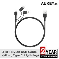 Aukey 3 In 1 MFI Lightning Cable With Micro USB & USB C Cable - 500377