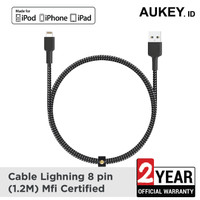 Aukey MFi Ligtning 8 PIN SYNC and Charging Cable Black - 500365