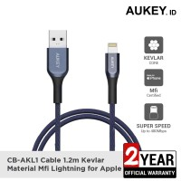 Aukey Cable CB-AKL1 MFI USB A To Lightning Kevlar 1.2 M Blue - 500421