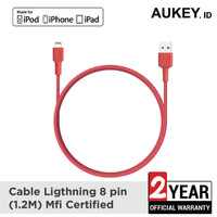 Aukey MFi Ligtning 8 PIN SYNC and Charging Cable Red - 500366