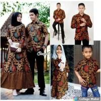 baju batik couple kemeja lengan panjang gamis sekar bawah rempel baru