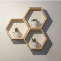 rak dinding / hexagon / pajangan dinding