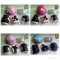 Helm sepeda anak/sepatu roda + deker pelindung siku dan lutut -cewek