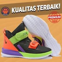 Sepatu Basket Sneakers Nike Lebron Soldier 13 Multicolor Black Greens