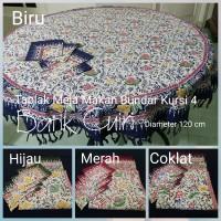 Taplak Meja Makan Bulat Bundar Kursi 4 Batik