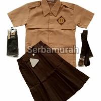 setelan seragam pramuka anak perempuan baju pendek rok pendek lengkap