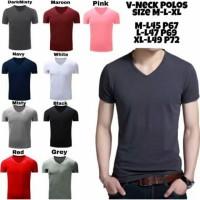 Kaos Polos Pria V Neck Murah Size M/L/XL - M