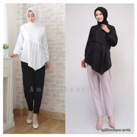 Baju Atasan Wanita Muslim / Swan Blouse Lengan Panjang Asimetris Polos