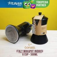Mokapot Kompor Induksi 6 cup 300ml - Moka Pot Induction Conalli Hitam